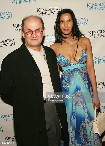 Author Salman Rushdie and Padma Lakshmi attend the Kingdom Of Heaven premiere at the Ziegfeld Theater May 04 2005 in New York City