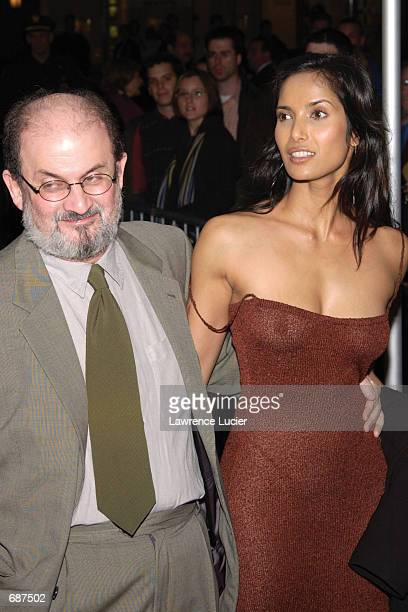 Author Salman Rushdie and Padma Lakshmi Vaidyanathan attend the premiere of the film Lord of the Rings at the Ziegfeld Theater December 13 2001 in...