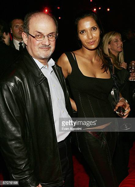 Author Salman Rushdie and wife Padma Lakshmi attend the V For Vendetta premiere after party at The Rose Theater Lincoln Center March 13 2006 in New...