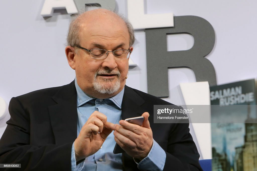 Author Salman Rushdie at the Blue Sofa at the 2017 Frankfurt Book Fair (Frankfurter Buchmesse) on October 12, 2017 in Frankfurt am Main, Germany. The 2017 fair, which is among the world's largest book fairs, will be open to the public from October 11-15.