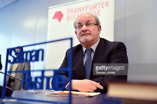 Author Salman Rushdie attends the press conference of the 2015 Frankfurt Book Fair on October 13 2015 in Frankfurt am Main Germany The fair which is...
