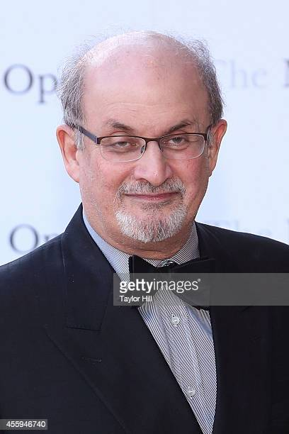 Author Salman Rushdie attends the season opening performace of The Marriage of Figaro at The Metropolitan Opera House on September 22 2014 in New...