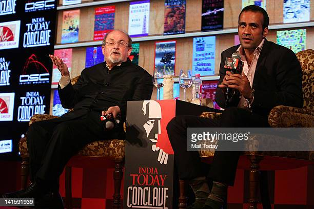 Author Salman Rushdie speaks and author Aatish Taseer also seen at the India Today Conclave 2012 in New Delhi on Saturday March 17 2012