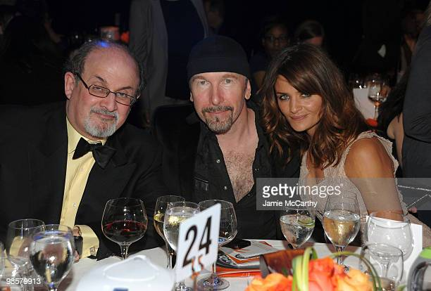 Author Salman Rushdie The Edge of U2 and model Helena Christensen attend the Food Bank for New York City's 8th Annual CanDo Awards dinner at Abigail...