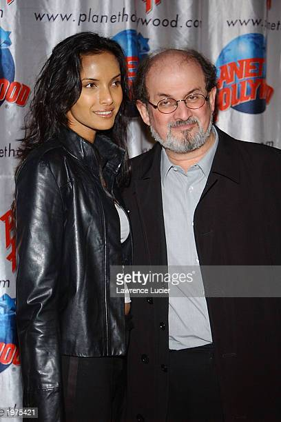 Author Salman Rushie and model Padma Lakshmi arrive at the afterparty for the opening night of his Broadway show 'Victory Begins At Home' at Planet...