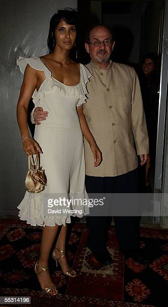Author Salmon Rushdie and his wife Padma Laxmi attend the book launch party celebrating the September 5 publication of for Rushdie's new book...
