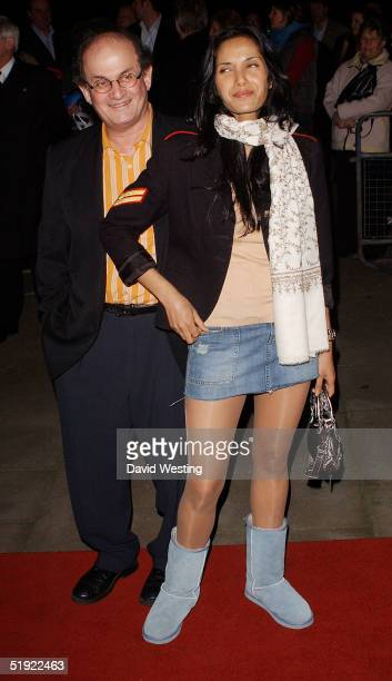 Author Salmon Rushdie and his wife Padma Laxmi attend the Cirque Du Soleil Dralion press night at Royal Albert Hall January 6 2004 in London England