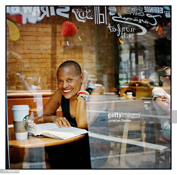 Author Sapphire poses for Ladies Home Journal Magazine on June 28 2011 at the Astor Place Starbucks in New York City PUBLISHED IMAGE