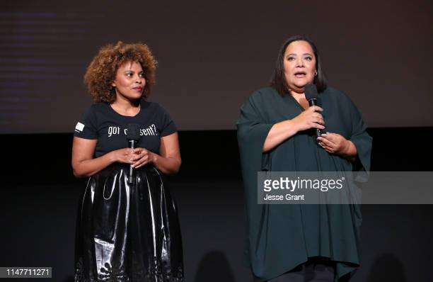 """Author Scheherazade Tillet and executive producer/showrunner dream hampton attend Lifetime's """"Surviving R Kelly"""" Emmy FYC Screening on May 07 2019 in..."""