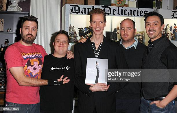 Author Scott Allen Perry actor Josh Ponceman Perry actor Doug Jones photographer Eric Curtis and author Adam Mock sign Mime Very Own Book at the...