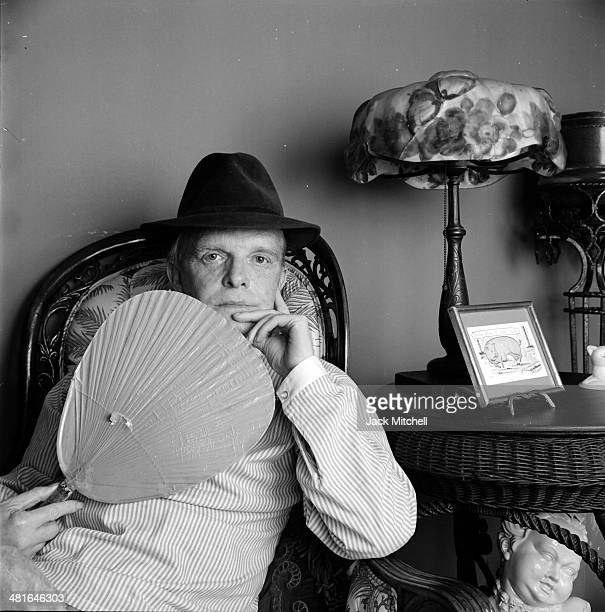 Author screenwriter and playwright Truman Capote photographed in his United Nations Plaza residence in 1980