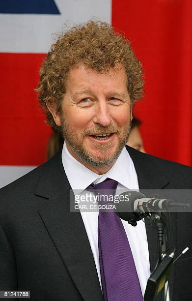 Author Sebastian Faulks addresses the media after receiving the first copies of the new James Bond novel entitled 'Devil May Care' aboard HMS Exeter...