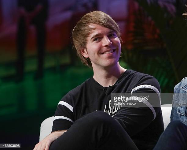 Author Shane Dawson appears on stage during Vlogger to Author at BookCon held at the Javits Center on May 31 2015 in New York City