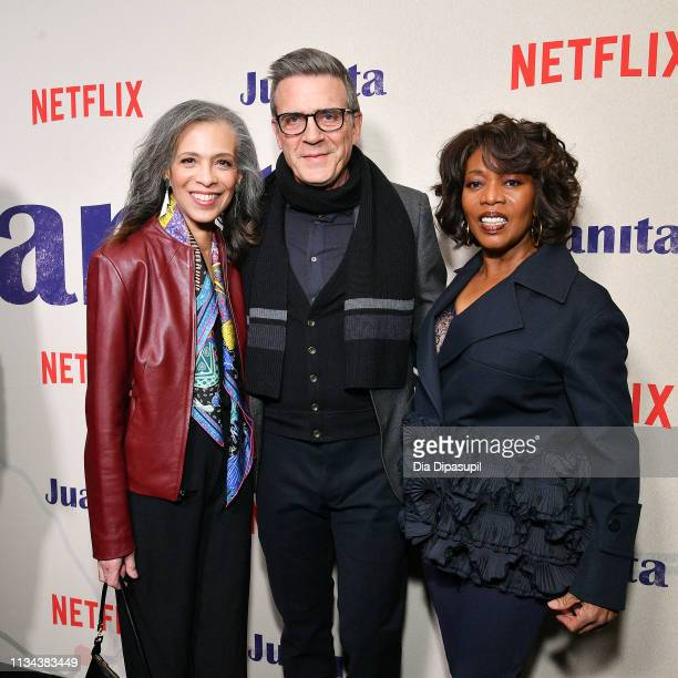 Author Sheila Williams writer Roderick M Spencer and Alfre Woodard attend the 'Juanita' New York screening at Metrograph on March 07 2019 in New York...