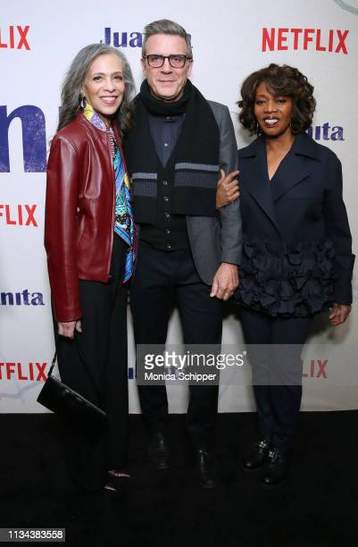 Author Sheila Williams writer Roderick Spencer and actress Alfre Woodard attend 'Juanita' Special Screening on March 07 2019 in New York City