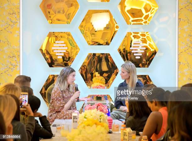 Author Shira Lenchewsk and Gwyneth Paltrow speak during the Bumble Hive LA debut with Gwyneth Paltrow and friends on January 31 2018 in Los Angeles...
