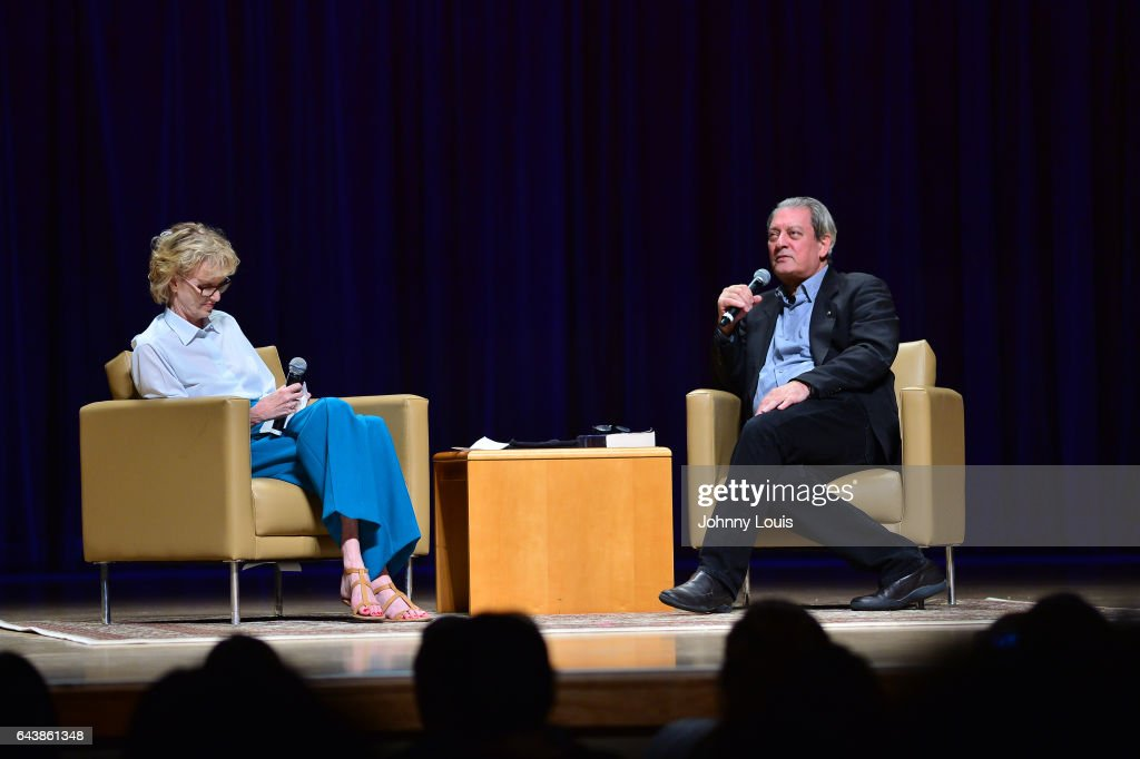 Author Siri Hustvedt and Paul Auster during a Q&A about his latest novel, '4 3 2 1' during A Evening with Paul Auster & friends! MUSIC, MAGIC &