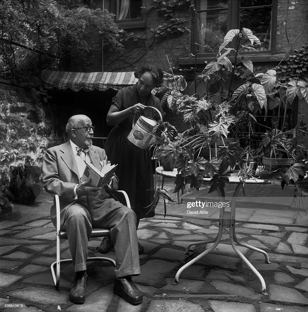 Author, sociologist, historian and civil rights activist W. E. B. Du Bois poses for a portrait with his wife author, playwright, composer, and activist Shirley Graham Du Bois at their home at 31 Grace Court in Brooklyn Heights in 1958 in New York City, New York.