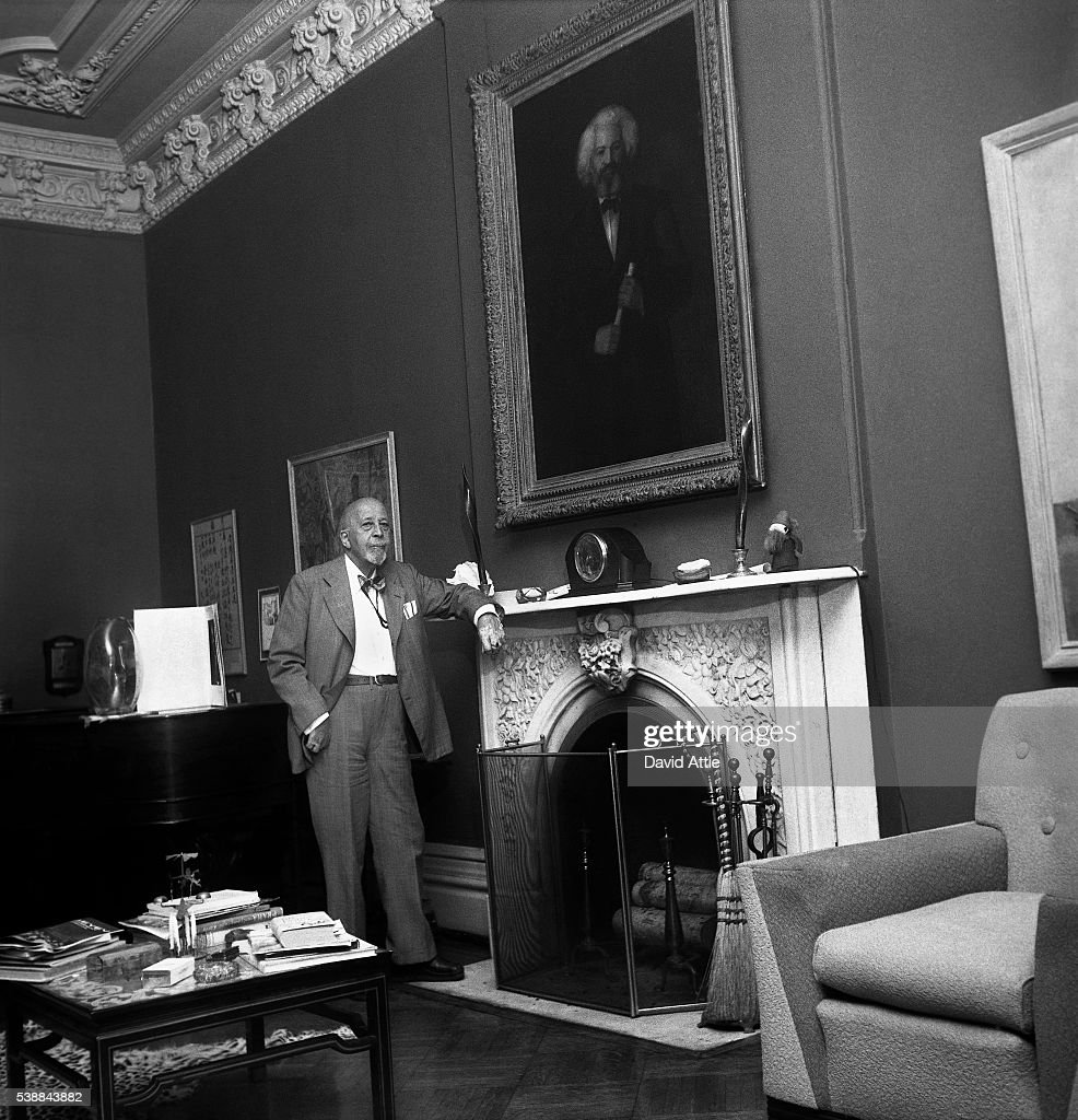 Author, sociologist, historian and civil rights activist W. E. B. Du Bois poses for a portrait at home at 31 Grace Court in Brooklyn Heights in 1958 in New York City, New York.