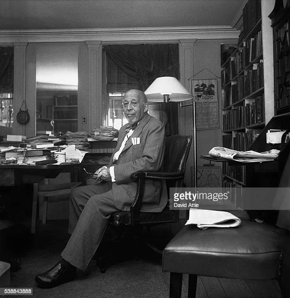 Author sociologist historian and civil rights activist W E B Du Bois poses for a portrait at home at 31 Grace Court in Brooklyn Heights in 1958 in...