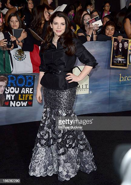 Author Stephenie Meyer arrives at the premiere of Summit Entertainment's The Twilight Saga Breaking Dawn Part 2 at Nokia Theatre LA Live on November...