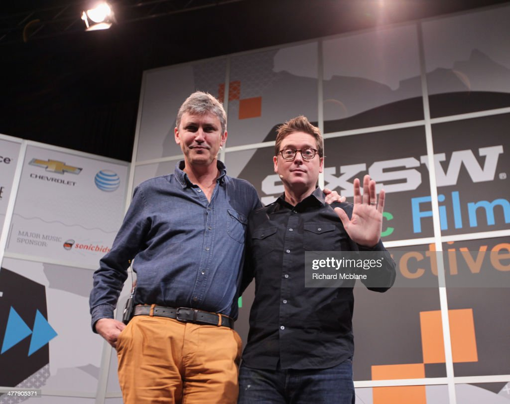 Author Steven Johnson (L) and Biz Stone, CEO of Jelly speak onstage at 'Biz Stone in Conversation with Steven Johnson' during the 2014 SXSW Music, Film + Interactive Festival at Austin Convention Center on March 11, 2014 in Austin, Texas.