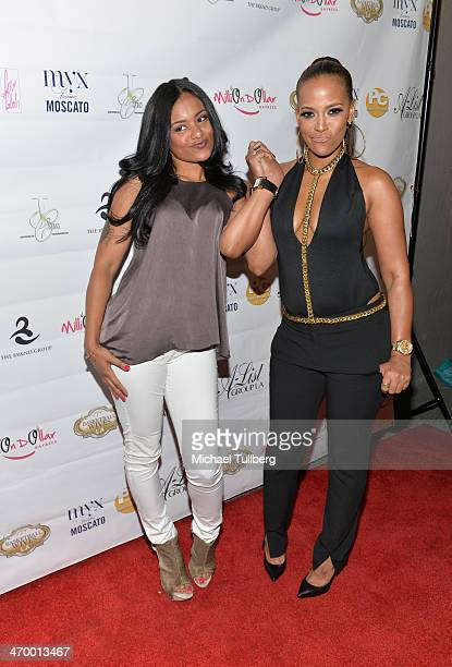 Author Stormey Ramdhan and actress Sundy Carter attend the season premiere party of the reality show Basketball Wives LA at Allure Studios on...