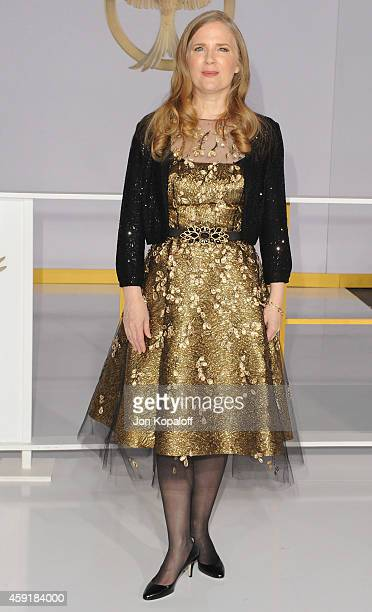 Author Suzanne Collins arrives at the Los Angele Premiere The Hunger Games Mockingjay Part 1 at Nokia Theatre LA Live on November 17 2014 in Los...