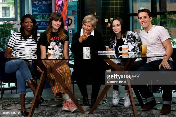 Author Suze Orman poses with Build Brunch hosts Britanny JonesCooper Shannon Coffey Ali Kolber and Lukas Thimm at Build Series at Build Studio on...