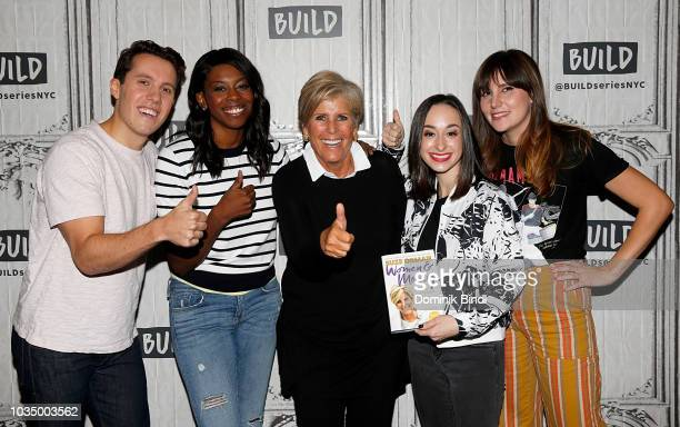 Author Suze Orman poses with Build Brunch hosts Lukas Thimm Britanny JonesCooper and Shannon Coffey at Build Series at Build Studio on September 17...