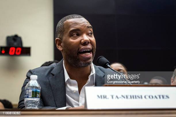Author Ta-Nehisi Coates testifies about reparations for the descendants of slaves during a hearing before the House Judiciary Subcommittee on the...