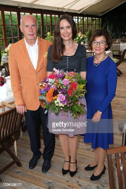 Author Tanja Kinkel and her father Werner Kinkel and mother Eva Kinkel during the 50th birthday celebration of author Tanja Kinkel at Freihaus...