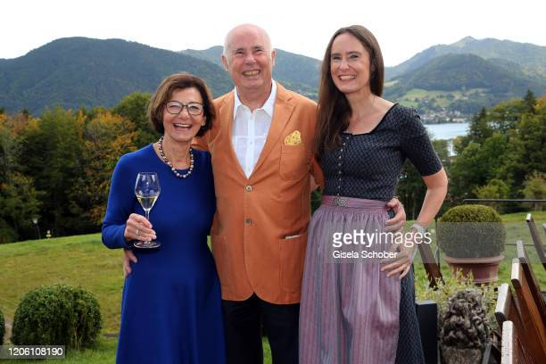 Author Tanja Kinkel and her parents Eva Kinkel and Werner Kinkel during the 50th birthday celebration of author Tanja Kinkel at Freihaus Brenner on...