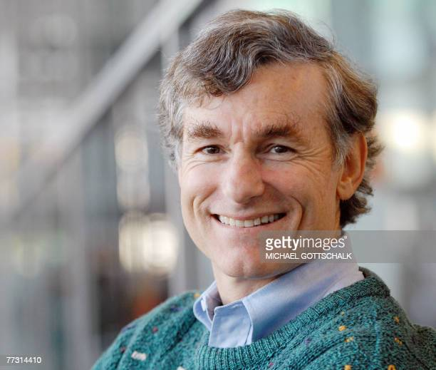 US author Thomas ABarron poses for a photo at the Frankfurt Book Fair 13 October 2007 The fair's guest of honour this year is Catalan culture The...