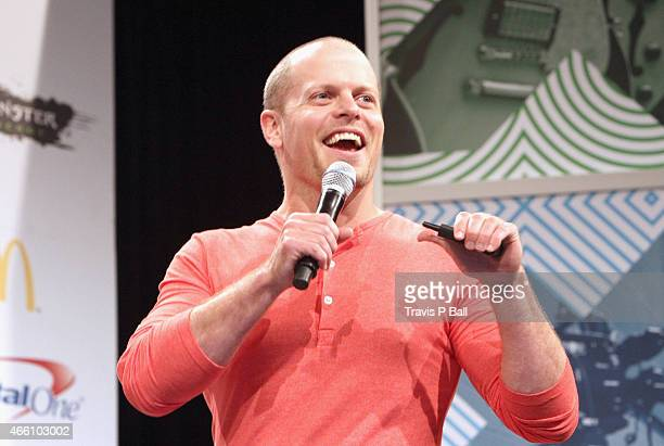 Author Tim Ferriss speaks onstage at 'How To Rock SXSW In 4 Hours' during the 2015 SXSW Music Film Interactive Festival at Austin Convention Center...