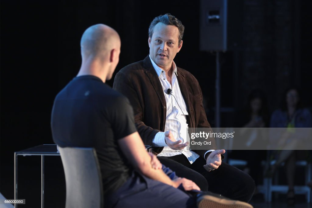 Author Timothy Ferriss (L) and actor Vince Vaughn speak onstage during Tim Ferriss and Vince Vaughn: In Conversation at the 2017 Vulture Festival at Milk Studios on May 20, 2017 in New York City.