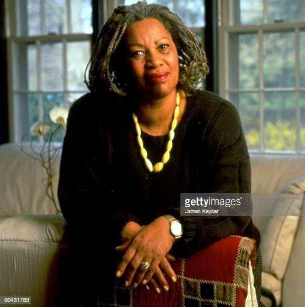 Author Toni Morrison, 1st African American and 8th woman to win the prestigous Nobel Prize for Literature at her home.