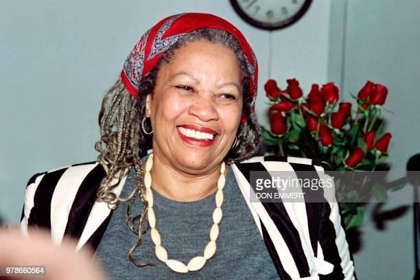 US author Toni Morrison smiles in her office at Princeton University in New Jersey while being interviewed by reporters on October 7 1993 Morrison...