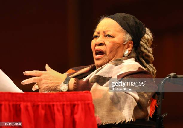 Author Toni Morrison speaks at Harvard's Sanders Theater in Cambridge MA on March 9 2016 as part of the Charles Eliot Norton Lectures