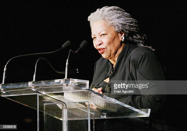 Author Toni Morrison speaks at the Risk-Takers In The Arts honors benefit hosted by the Sundance Institute at Cipriani 42nd Street April 23, 2003 in...