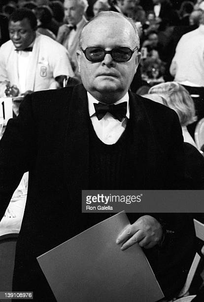 Author Truman Capote and actress Natalie Wood attend Third Annual American Film Institute Lifetime Achievement Awards Honoring Orson Welles on...
