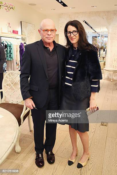 Author William Norwich and Amanda Ross attend the book signing of his new novel 'My Mrs Brown' at Oscar de la Renta Boutique on April 14 2016 in New...