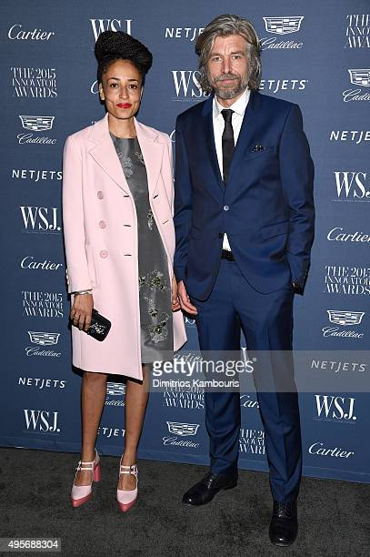 Author Zadie Smith and 2015 Literature Innovator Karl Ove Knausgard attend the WSJ Magazine 2015 Innovator Awards at the Museum of Modern Art on...