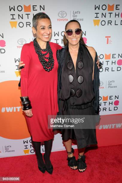Author Zainab Salbi and fashion designer Donna Karan attend the 2018 Women In The World Summit at Lincoln Center on April 12 2018 in New York City