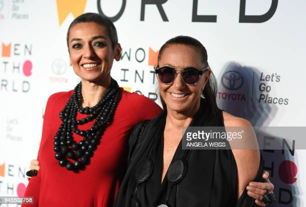 Author Zainab Salbi and fashion designer Donna Karan attend the 2018 Women In The World Summit at Lincoln Center on April 12 2018 in New York City /...