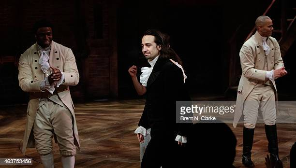 "Author/Composer/Lyricist and Actor Lin-Manuel Miranda is seen at the curtain call during the opening night celebration of ""Hamilton"" at The Public..."