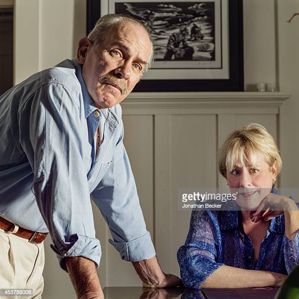 Author/eldest son of John Steinbeck, Thomas Steinbeck is photographed with wife Gail for Vanity Fair Magazine on May 30, 2013 in Montecito,...