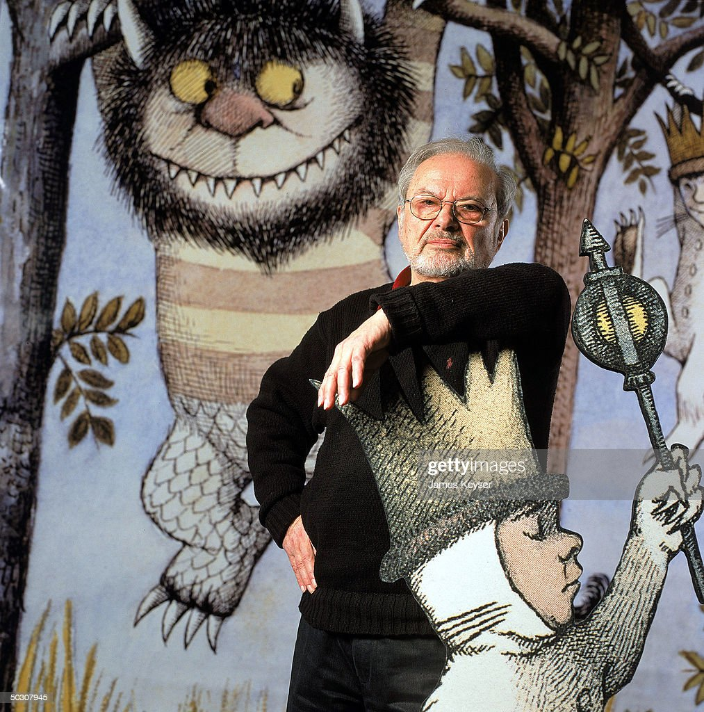 Author/illustrator Maurice Sendak standing by an life-size scene from his book WHERE THE WILD THINGS ARE at the Children's Museum of Manhattan which is honoring his 50 years of work with an exhibit.