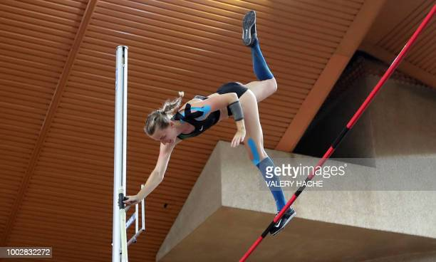 Authorised Neutral Athlete Anzhelika Sidorova fails to clear the bar as she competes in the women's pole vault event during the IAAF Diamond League...