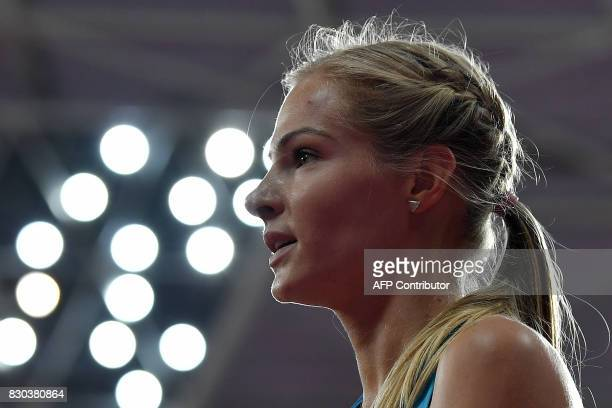 Authorised Neutral Athlete Darya Klishina competes in the final of the women's long jump athletics event at the 2017 IAAF World Championships at the...
